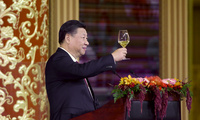 China's President Xi Jinping delivers a toast at a state dinner at the Great Hall of the People in Beijing on Nov. 9, 2017 (Thomas Peter/Pool Photo via AP).