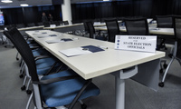 The room in Bethesda, Md., is prepared Friday, Feb. 16, 2018, for state election officials from all 50 states to attend classified briefings being held to raise awareness of foreign meddling in state election systems. (Brian Murphy/Office of the Director of National Intelligence via AP)