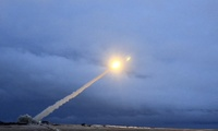 This video grab provided by RU-RTR Russian television via Associated Press television shows the launch of what President Vladimir Putin said is Russia's new nuclear-powered intercontinental cruise missile. March 1, 2018 (Credit: RU-RTR Russian Television via Associated Press). Keywords: Russia, nuclear arms, Vladimir Putin