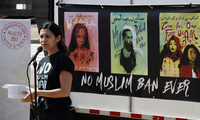 Avideh Moussavian, Senior Policy Attorney, National Immigration Law Center, speaks during a media availability for a video installation to protest President Donald Trump's travel ban at Union Station in Washington. April 23, 2018 (Alex Brandon/Associated Press). Keywords: Avideh Moussavian, Trump, travel ban, Muslim ban