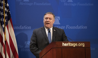 "Secretary of State Mike Pompeo speaks at the Heritage Foundation, a conservative public policy think tank, in Washington on May 21, 2018. Pompeo issued a steep list of demands Monday that he said should be included in a nuclear treaty with Iran to replace the Obama-era deal, threatening ""the strongest sanctions in history"" if Iran doesn't change course (J. Scott Applewhite/Associated Press)."