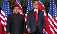 U.S. President Donald Trump meets with North Korean leader Kim Jong Un on Sentosa Island, in Singapore, on June 12, 2018. (AP Photo/Evan Vucci, File)