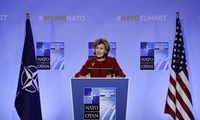 U.S. Ambassador to NATO Kay Bailey Hutchison speaks during a media conference at NATO headquarters in Brussels on Tuesday, July 10, 2018. (AP Photo/Markus Schreiber)