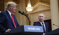 U.S. President Donald Trump and Russian President Vladimir Putin during their joint news conference at the Presidential Palace in Helsinki, Finland. July 16, 2018 (Pablo Martinez Monsivais/Associated Press).