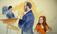 A courtroom sketch depicts Maria Butina, a 29-year-old gun-rights activist suspected of being a covert Russian agent, during a hearing in federal court in Washington on Wednesday, July 18, 2018. (Dana Verkouteren via AP)