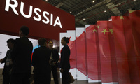 The Chinese flag displayed at the Russian booth of import fair.