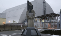 Monument for victims of Chernobyl in front of covef