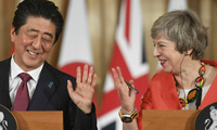Japan's Prime Minister Shinzo Abe and Britain's Prime Minister Theresa May