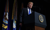 President Trump speaks about American missile defense doctrine at the Pentagon on January 17, 2019 (Evan Vucci/Associated Press).