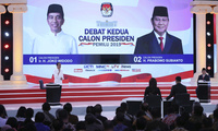 Indonesian presidential candidates Joko Widodo and Prabowo Subianto participate in a televised debate in Jarkarta, February 17, 2019.