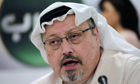 Saudi journalist Jamal Khashoggi speaks at a 2014 conference in Manama, Bahrain, 4 years before his assassination in 2018 at the hands of the Saudi government.