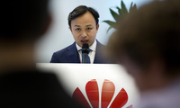 The Chief Representative of Huawei, Abraham Liu, speaks to an audience in Brussels, Belgium during a DigitALL talk, May 21, 2019.