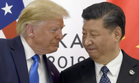 Photo of Presidents Trump and Xi during meeting on sidelines of G20, June 29, 2019.