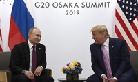 President Donald Trump, right, meets with Russian President Vladimir Putin during a bilateral meeting on the sidelines of the G-20 summit.
