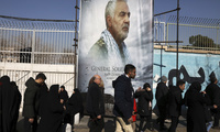 Mourners walk back from a funeral ceremony for Iranian Gen. Qassem Soleimani on Jan. 6 (AP Photo/Vahid Salemi).
