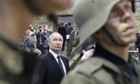 Photo of Russian President Vladimir Putin visits the exhibition - 'Memory speaks. The road through the war' in St. Petersburg, Russia, Saturday, Jan. 18, 2020. Putin attends events marking the 77th anniversary of the break of Nazi's siege of Leningrad. The Red Army broke the nearly 900-day blockade of the city on January 19, 1943 after fierce fighting.