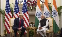 U.S. President Donald Trump and Indian Prime Minister Narendra Modi sit for a meeting at Hyderabad House, Tuesday, Feb. 25, 2020, in New Delhi, India.