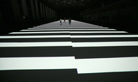 A light installation representing data streaming by Japanese artist Ryoji Ikeda in Germany, September 13th, 2013.z