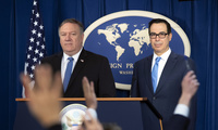 Secretary of State Mike Pompeo and Treasury Secretary Steven Mnuchin at a press conference