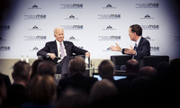 Professor Nicholas Burns interviews former Vice President Joe Biden on stage during the 2019 Munich Security Conference