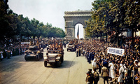 Crowds of French patriots line the Champs Elysees after Paris was liberated on August 26, 1944.