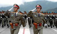 Soldiers of the People's Liberation Army training for a parade, Hong Kong, Saturday, July 31, 2004.