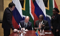Vladimir Putin with President of South Africa Cyril Ramaphosa during the BRICS Summit