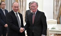 U.S. National Security Advisor John Bolton meets with Russian President Vladimir Putin in Moscow following President Trump's announcement of U.S. plans to withdraw from the INF Treaty. October 23, 2018.