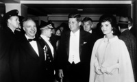 John F. Kennedy (center) on the day of his presidential inauguration in 1961. (Wikipedia/Abbie Rowe, National Park Service - John F. Kennedy Presidential Library and Museum, Boston)