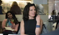 Juliette Kayyem speaking at a Belfer Center director's lunch.