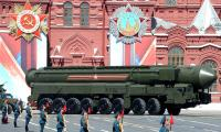 A missile on display during a military parade in Moscow's Red Square in 2016.