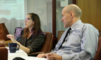 Photo of Kate Cronin-Furman speaking about her research on human rights and mass atrocities. (Bennett Craig)