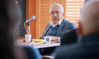 Former Prime Minister Salam Fayyad discusses his career and thoughts on Middle East issues at a Belfer Center seminar in April.