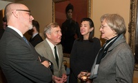 Harvard President Drew Faust (right) with Laurence D. Belfer Professor of International Affairs Fredrik Logevall (left), Belfer Center Director Graham Allison, and Anne Karalekas, associate with the Applied History Project, which hosted President Faust at a special working group dinner.
