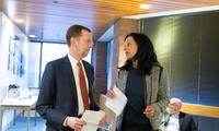 Juliette Kayyem with Dean Douglas Elmendorf before a JFK Jr. Forum on President Trump's executive orders on immigration. (Benn Craig)