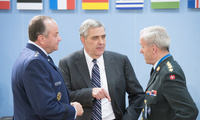 NATO Ambassador Douglas E. Lute (center) with General Philip Breedlove (left) and General Knud Bartels at a meeting of the NATO-Ukraine Commission, June 3, 2014.