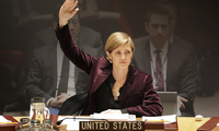 United States Ambassador to the United Nations Samantha Power votes on a resolution during a Security Council meeting at UN headquarters, Wednesday, March 2, 2016.