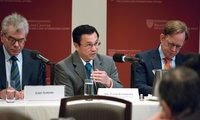 Panelists (from left) Gary Samore, Toshi Yoshihara and Taylor Fravel discuss the impact of China's rise.