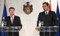 Serbia's President Aleksandar Vucic at a press conference with the European Union's special representative for the Pristina-Belgrade, Miroslav Lajcak