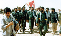President Khamenei visit an Iran-Iraq war battlefield in August 1988.