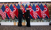 Trump and Kim shake hands at the Hanoi summit meeting on February 27, 2019 (Shealah Craighead/Official White House Photo).