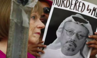 A protest at the Embassy of Saudi Arabia about the disappearance of Jamal Khashoggi