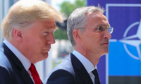 U.S. President Donald Trump With NATO Secretary General Jens Stoltenberg