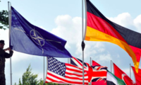 NATO Flag Flying with U.S. and German Flag