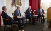 Former U.S. Secretary of State Rex Tillerson (third from left) offered his take on global leaders and hotspots, from Iran and Saudi Arabia to North Korea and Syria. He was joined by Robert Mnookin (from left), James Sebenius, and Nicholas Burns.