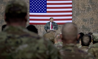 U.S. President Donald Trump speaks at a meeting in the Al Asad Air Base during a surprise visit to Iraq, December 26th, 2018.
