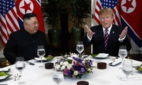 President Donald Trump speaks during a dinner with North Korean leader Kim Jong Un.