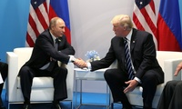 Vladimir Putin and Donald Trump meet at the 2017 G-20 Hamburg Summit (Kremlin.ru/Wikimedia Commons).