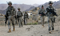 U.S. Soldiers depart Forward Operating Base Baylough, Afghanistan to conduct a patrol.