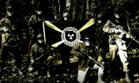 Atomwaffen Division members holding weapons with logo
